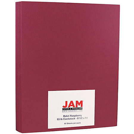 """JAM Paper® Cover Card Stock, 8 1/2"""" x 11"""", 65 Lb, Raspberry, Pack Of 50 Sheets"""