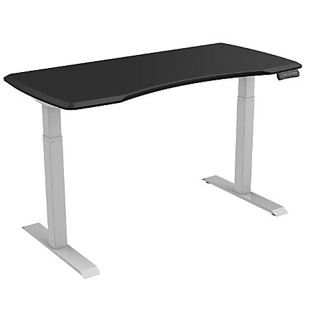 "Loctek 55""W Height-Adjustable Desk, Silver/Black"