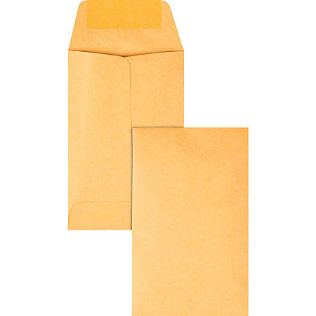 "Quality Park Kraft Coin Envelopes - Coin - #1 - 2 1/4"" Width x 3 1/2"" Length - 20 lb - Gummed - 500 / Box - Brown Kraft"