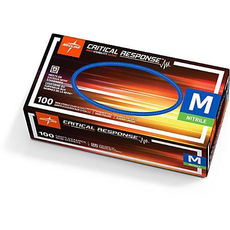Medline Critical Response Disposable Nitrile Exam Gloves, Medium, Orange, Pack Of 1,000