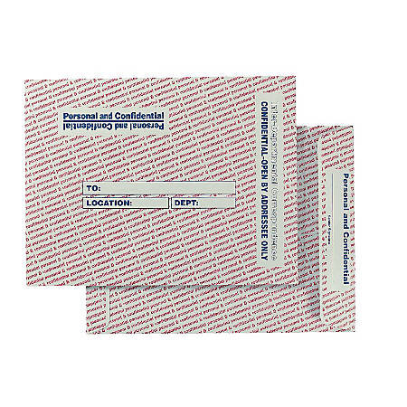 "Quality Park® Personal And Confidential Interdepartment Envelopes, 10"" x 13"", Gray, Box Of 100"