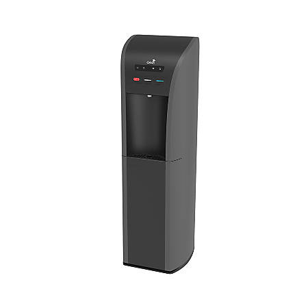 "Oasis® Aquarius Hot/Cold Floorstand Bottom-Load Water Dispenser, 43 1/2""H x 12 7/8""W x 14 1/2""D, Gray/Black"