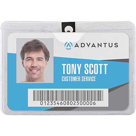 """Advantus Horizontal Badge Holder with Clip - 4"""" x 3"""" - Vinyl - 50 / Pack - Clear"""