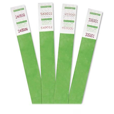 Advantus 500-Pack Tyvek Colored Wrist Bands - Green - 500 / Pack