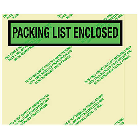 "Partners Brand Environmental ""Packing List Enclosed"" Envelopes, 4 1/2"" x 5 1/2"", 1,000 Per Case"