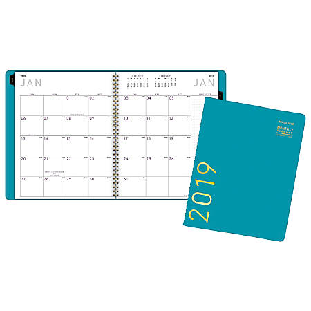 "AT-A-GLANCE® Contemporary Monthly Planner, 8 7/8"" x 11"", Teal, January to December 2019"