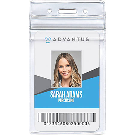 "Advantus Vertical Re-sealable Badge Holders, 2 5/8"" x 3 3/4"", Clear, Pack Of 50"