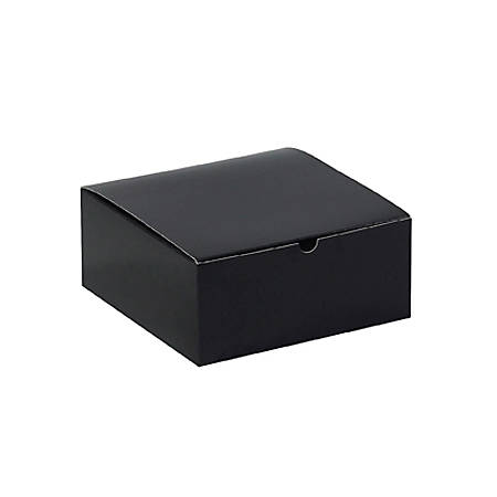 """Partners Brand Black Gloss Gift Boxes 8"""" x 8"""" x 3 1/2"""", Case of 100"""