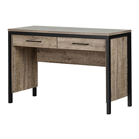 South Shore Munich Desk With Drawers, Matte Black/Weathered Oak