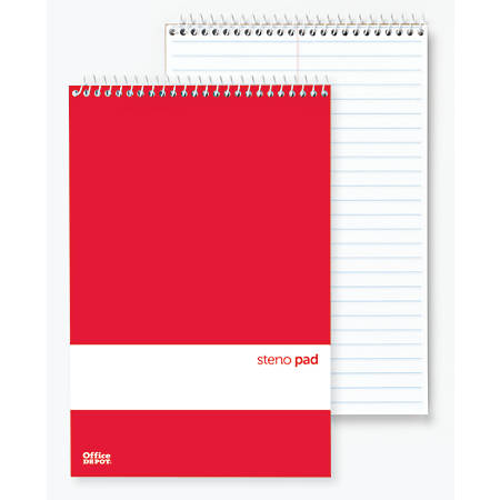 "Office Depot® Brand Steno Books, 6"" x 9"", Gregg Ruled, 70 Sheets, White, Pack Of 12"
