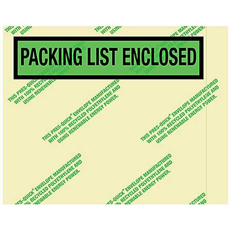 "Partners Brand Environmental ""Packing List Enclosed"" Envelopes, 7 "" x 5 1/2"", 1,000 Per Case"