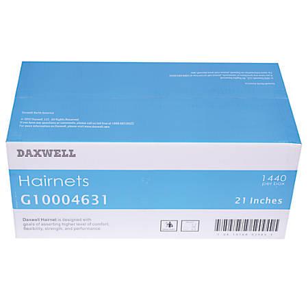 "Daxwell Nylon Hairnets, 21"", Black, 144 Hairnets Per Box, Case Of 10 Boxes"