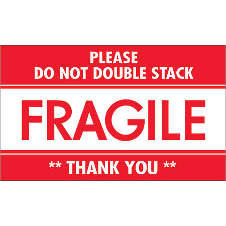 """Tape Logic® Preprinted Shipping Labels, DL2159, Fragile — Do Not Double Stack, Rectangle, 3"""" x 5"""", Red/White, Roll Of 500"""