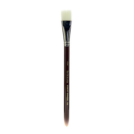 "Robert Simmons White Sable Short-Handle Paint Brush 755, 3/4"", Wash Bristle, Sable Hair, Brown"