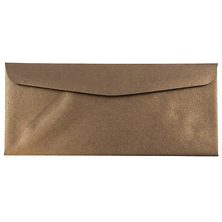 "JAM Paper® Business Booklet Envelopes, #10, 4 1/8"" x 9 1/2"", Bronze Metallic, Pack Of 25"