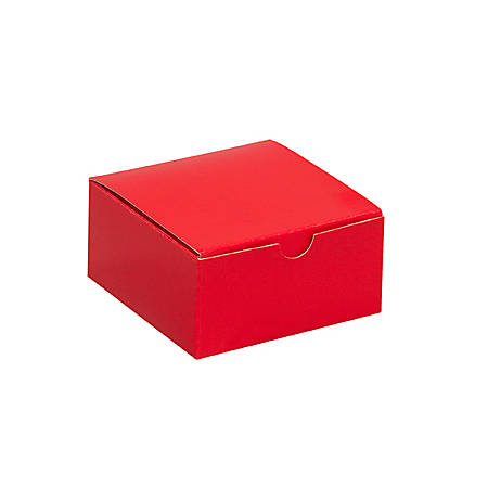 "Partners Brand Holiday Red Gift Boxes 4"" x 4"" x 2"", Case of 100"