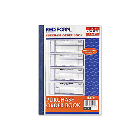 "Rediform 2-Part Purchase Order Book - 400 Sheet(s) - Stapled - 2 Part - Carbonless Copy - 2 3/4"" x 7"" Sheet Size - Blue Print Color - 1 Each"