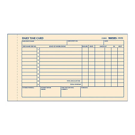 "Rediform® Daily Time Clock Card Pads, For Daily Time/2-Page, 4.25"" x 7"", Manila, 100 Pages"