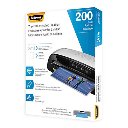 "Fellowes® Laminating Pouches, Letter, 3 mil, 11 1/2"" x 9"", Clear, Pack Of 200"
