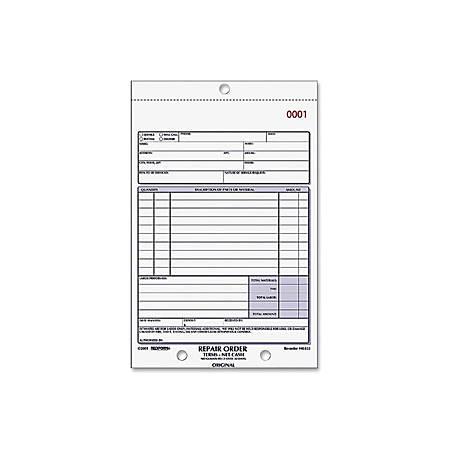 """Rediform 3-part Carbonless Repair Order Book - 50 Sheet(s) - 3 Part - Carbonless Copy - 5 1/2"""" x 7 7/8"""" Sheet Size - Assorted Sheet(s) - 1 Each"""