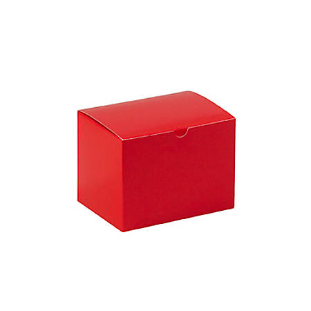"""Partners Brand Holiday Red Gift Boxes 6"""" x 4 1/2"""" x 4 1/2"""", Case of 100"""