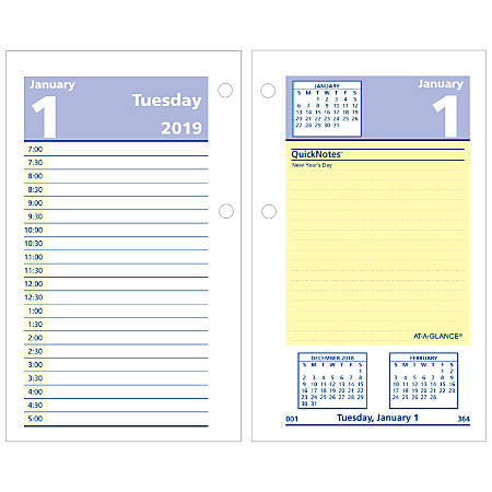 "AT-A-GLANCE® QuickNotes® Daily Loose-Leaf Desk Calendar Refill, 3 1/2"" x 6"", January to December 2019"