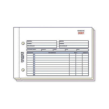 "Rediform Carbonless Invoices - 50 Sheet(s) - 3 Part - Carbonless Copy - 7 7/8"" x 5 1/2"" Sheet Size - Assorted Sheet(s) - Blue, Red Print Color - 1 / Each"