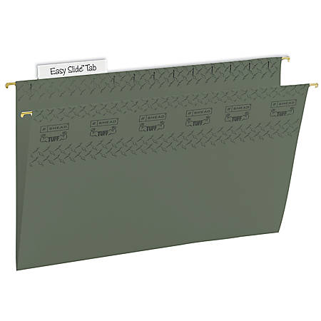 Smead® TUFF® Hanging File Folders With Easy Slide™ Tabs, Legal Size, Standard Green, Box Of 20