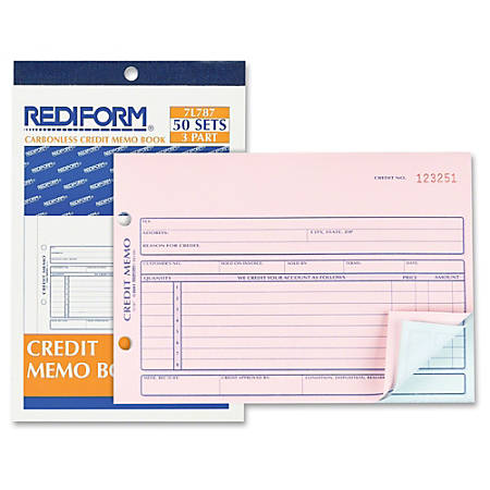 "Rediform Credit Memo Book - 50 Sheet(s) - 3 Part - Carbonless Copy - 7 7/8"" x 5 1/2"" Sheet Size - 1 Each"