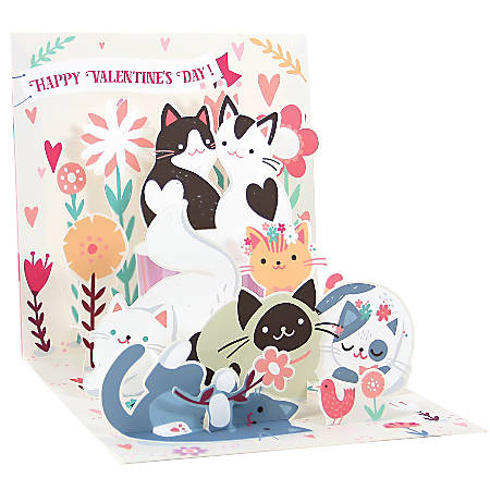 """Up With Paper Valentine's Day Pop-Up Greeting Card, Half Fold, 5-1/4"""" x 5-1/4"""", Kitty Love"""