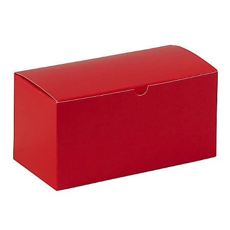 "Partners Brand Holiday Red Gift Boxes 9"" x 4 1/2"" x 4 1/2"", Case of 100"