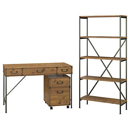 """kathy ireland® Home by Bush Furniture Ironworks 48""""W Writing Desk with Mobile File Cabinet and Bookcase, Vintage Golden Pine, Standard Delivery"""