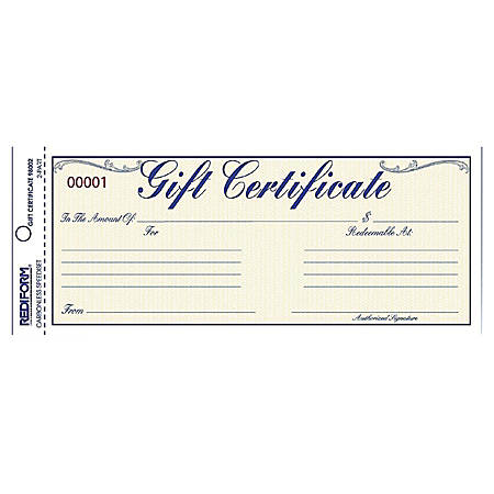 "Rediform Gift Certificates with Envelopes - 8.50"" x 3.66"" - Blue25 / Pack"