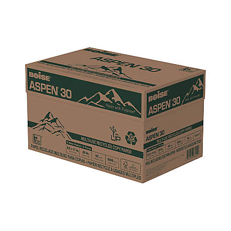 """Boise® ASPEN® 30 Multi-Use Paper, Letter Size (8 1/2"""" x 11""""), 3-Hole Punched, 20 Lb, 30% Recycled, FSC® Certified, Ream Of 500 Sheets, Case Of 10 Reams"""