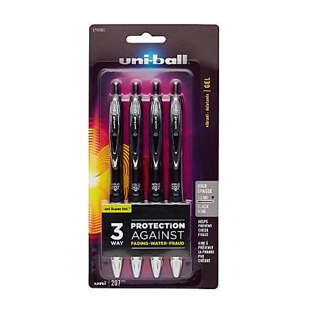 uni-ball® 207™ Retractable Fraud Prevention Gel Pens, Bold Point, 1.0 mm, Translucent Black Barrels, Black Ink, Pack Of 4