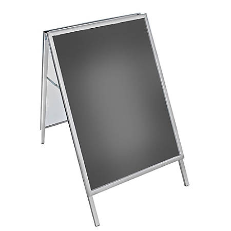 "Azar Displays Steel A-Board Sign Holder With Snap Frame, 40"" x 30"", Silver"