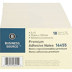 Business Source Repositionable Notes 3 x