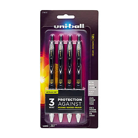 uni-ball® 207™ Retractable Fraud Prevention Gel Pens, Ultra Micro Point, 0.38 mm, Translucent Black Barrels, Black Ink, Pack Of 4