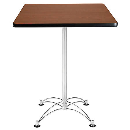 OFM Caf?-Height Square Table With Chrome Base, Mahogany