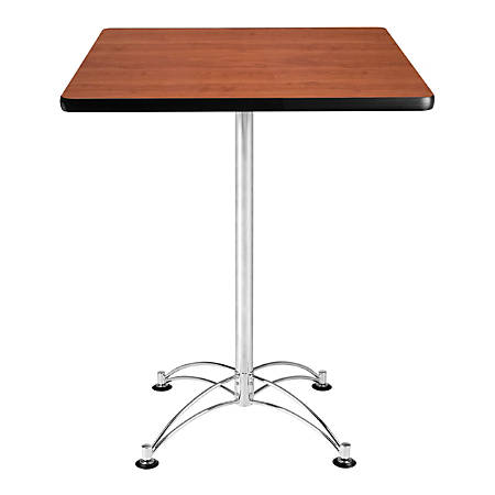 OFM Caf?-Height Square Table With Chrome Base, Cherry
