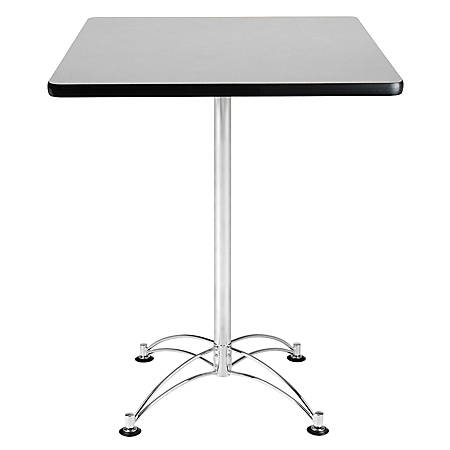 OFM Caf?-Height Square Table With Chrome Base, Gray Nebula
