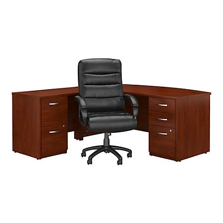 """Bush Business Furniture Components Elite 72""""W Bow Front L Shaped Desk with File Cabinets and High Back Office Chair, Hansen Cherry, Standard Delivery"""
