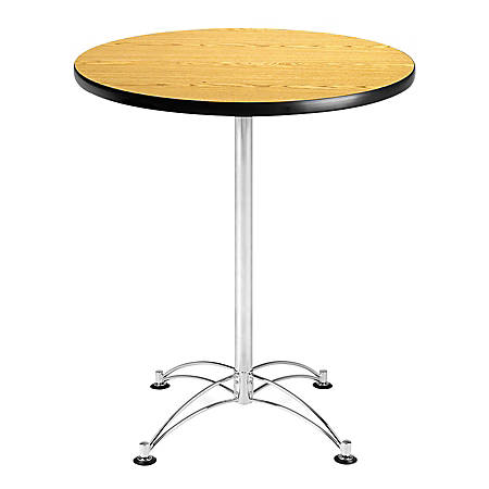 "OFM Caf?-Height Round Table With Chrome Base, 30"" Diameter, Oak"
