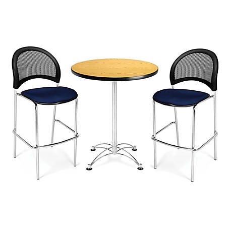 """OFM Caf?-Height Round Table With Chrome Base, 30"""" Diameter, Mahogany"""