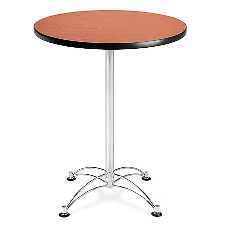 "OFM Caf?-Height Round Table With Chrome Base, 30"" Diameter, Cherry"