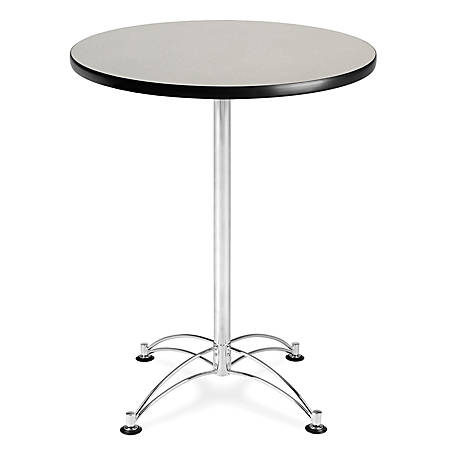 "OFM Caf?-Height Round Table With Chrome Base, 30"" Diameter, Gray Nebula"