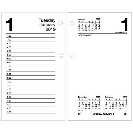 """AT-A-GLANCE® Daily Loose-Leaf Desk Calendar Refill, 3-1/2"""" x 6"""", January to December 2019"""