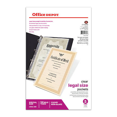 """Office Depot® Brand Legal Sheet Protectors, Heavyweight, 8 1/2"""" x 14"""", Non-Glare, Clear, Box Of 5"""