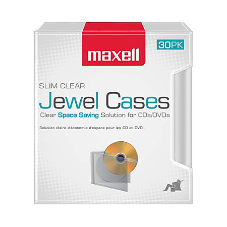 Maxell® Slim Jewel Cases, Clear, Pack Of 30