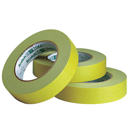 """3M™ 2060 Masking Tape, 3"""" Core, 1"""" x 180', Green, Pack Of 12"""